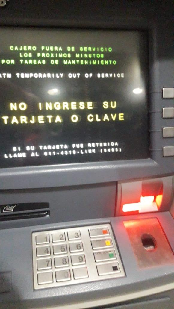 Problemas con los cajeros automáticos.